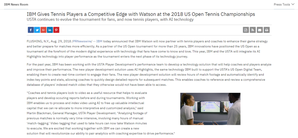 IBM Gives Tennis Players a Competitive Edge with Watson at the 2018 US Open Tennis Championships