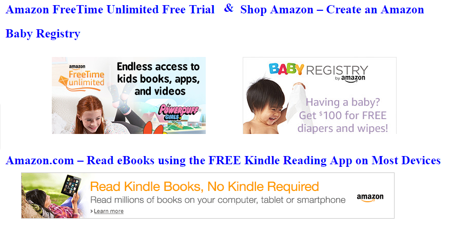 Amazon Offers, Amazon Prime free trial, Kindle app (Kindle