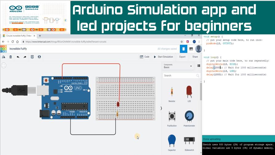 Arduino Free Simulation Software | Arduino LED Blinking Code